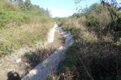 Vista del canal Contrera Lopez antes de Limpieza manual de solera en Los Cardozo, Dpto. Capital 3
